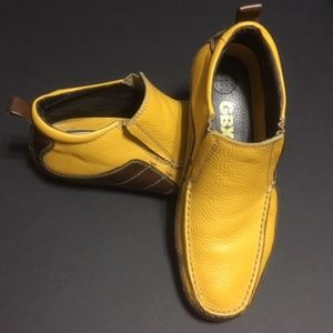 GBX Men's Yellow & Brown Leather Slip-on 10.5M